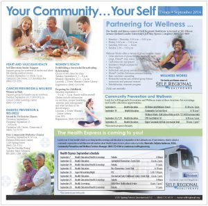 Your Community, Your SELF calendar of events for September 2016.