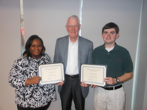 Pictured (from left): Crystal Tinch, scholarship recipient; M. John Heydel, former president and CEO of Self Regional Healthcare; Jacob Lawrence, scholarship recipient.