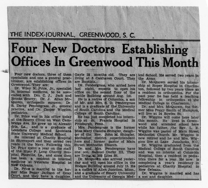 Four New Doctors Establishing Offices in Greenwood This Month