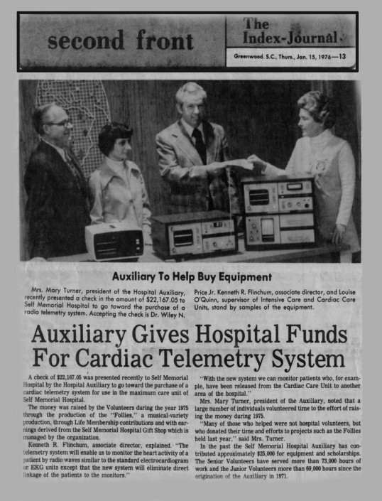 Hospital Auxiliary Gives Funds for Cardiac Telemetry System