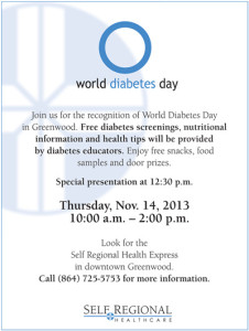 Self Regional is celebrating World Diabetes Day on Thursday, Nov. 14th in downtown Greenwood with a special community outreach initiative.