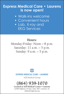 Self Medical Group's Express Medical Care•Laurens Now Open to Patients