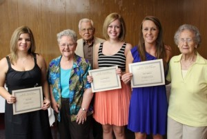 Members of the Mary Ella Ruff Nursing Scholarship committee present certificates to 2013 scholarship recipients, Allie South, Anna Baughman and Mary Simmons. Pictured from left are Ms. South, Georgia Gillion, Travis Stevenson, Ms. Baughman, Ms. Simmons and Mary Ella Ruff. Not present are recipients Brandon Scott and Beth Yarborough.