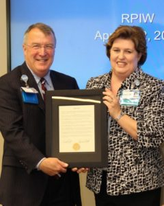 Palmetto Gold winner Angela Blackwell is presented a special recognition certificate from Self Regional Healthcare President Jim Pfeiffer.
