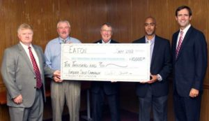Pictured from left, Trey Fenner, Plant Manager of EATON Electrical Sector; Ron Millender, Chairman of Self Regional Healthcare Board of Trustees; Jim Pfeiffer, President and CEO of Self Regional Healthcare; Brent Parris, Human Resources Manager of EATON Hydraulics Group; and Chairman of the Self Regional Healthcare Foundation Board of Trustees Michael Nix.