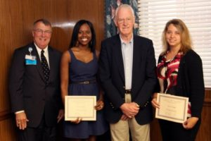 Pictured from left: Jim Pfeiffer, Self Regional President and CEO, scholarship recipient Precious Logan, retired Self Regional executive John Heydel, and scholarship recipient Shanna Bridges.