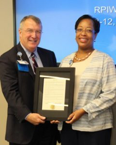 Palmetto Gold winner Ivy Middleton is presented a special recognition certificate from Self Regional Healthcare President Jim Pfeiffer.