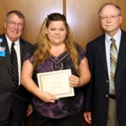 Pictured from left: Self Regional President and CEO Jim Pfeiffer, scholarship winner Christine Pilgrim, and Ron Deeder, Director of Respiratory Services for Self Regional Healthcare.