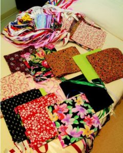 A selection of beautiful bags donated by the Greenwood Sewing Guild to Self Regional mastectomy patients.