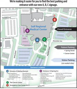 Beginning September 1, 2016, parking and facility entrance at Self Regional Healthcare will be simplified with A, B, C signage. Click image to view larger.