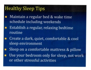 Healthy Sleep Tips: maintain a regular bed and wake schedule, establish a regular and relaxing bedtime routine
