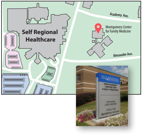 Montgomery Center for Family Medicine Map, 155 Academy Ave, Greenwood SC