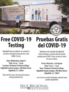 Free COVID-19 Testing for Edgefield County, SC, August 5, 2020 at PTC Edgefield County Campus