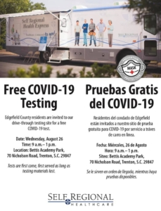 Free COVID-19 Testing for Edgefield County, SC, August 26, 2020 at Bettis Academy Park in Trenton