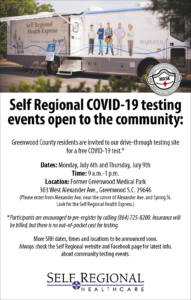 Self Regional COVID-19 community testing July 6 and 9, 303 W. Alexander Avenue Greenwood