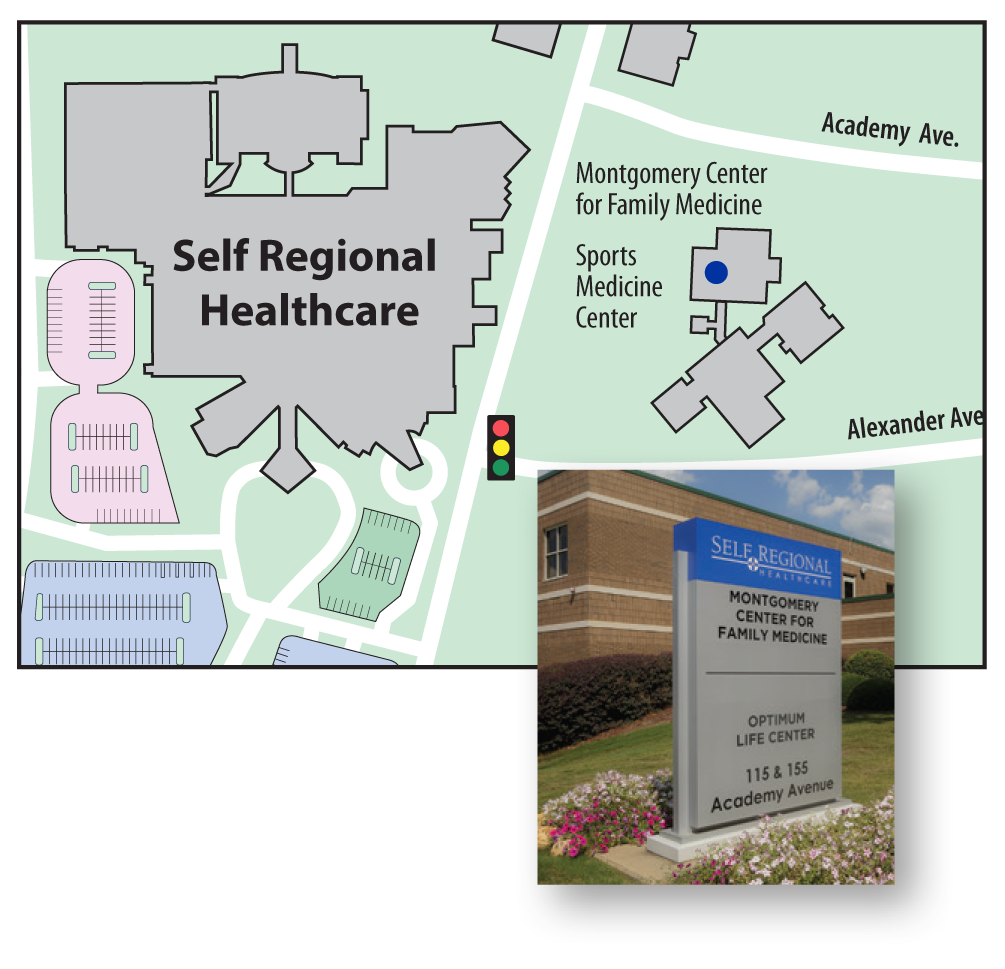 The Sports Medicine Center is at 155 Academy Avenue • Greenwood, SC 29646, (864) 725-7085