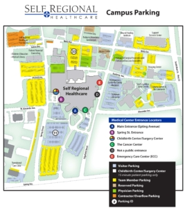 Self Regional Healthcare Entrance and Parking Map updated October 7, 2020